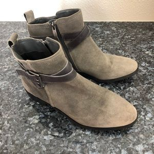 Marc Fisher Charlie grey suede booties side zip